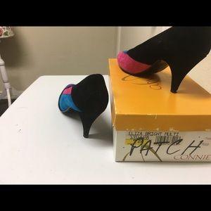Shoes - Vintage leather colorblock heels size 9